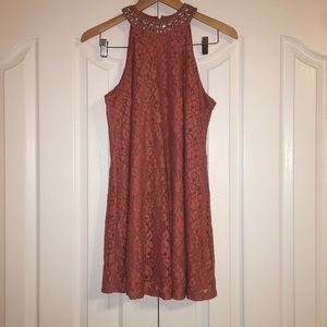 Miami Coral Lace Sequined Dress Size Small